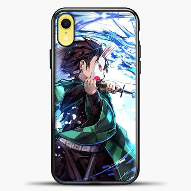 Anime Demon Slayer Blue Power iPhone XR Case, Black Plastic Case | casedilegna.com
