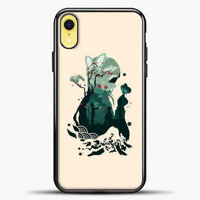 Anime Demon Slayer Pink Background iPhone XR Case, Black Plastic Case | casedilegna.com
