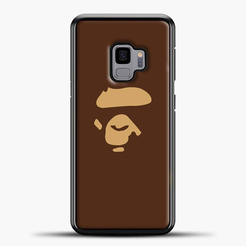 Ape Gorilla Head Brown Samsung Galaxy S9 Case, Black Plastic Case | casedilegna.com