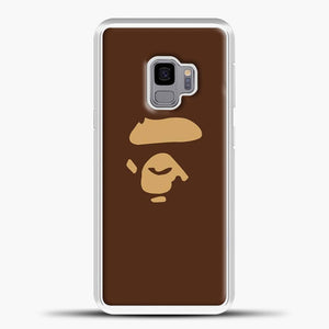 Ape Gorilla Head Brown Samsung Galaxy S9 Case, White Plastic Case | casedilegna.com