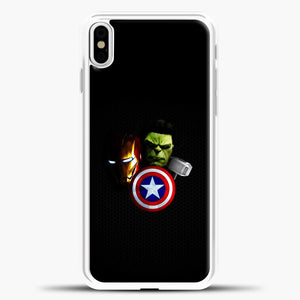 Avengers Carbon Fiber Background iPhone X Case, White Plastic Case | casedilegna.com