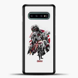 Avengers Grey Background Samsung Galaxy S10e Case, Black Plastic Case | casedilegna.com