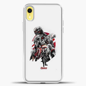 Avengers Grey Background iPhone XR Case, White Plastic Case | casedilegna.com