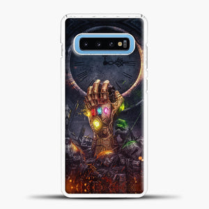 Avengers Hand And Fire Samsung Galaxy S10 Case, White Plastic Case | casedilegna.com