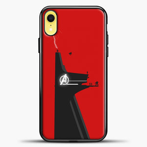 Avengers Logo Red Background iPhone XR Case, Black Plastic Case | casedilegna.com