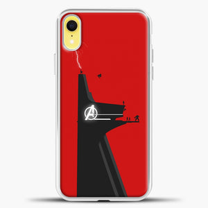 Avengers Logo Red Background iPhone XR Case, White Plastic Case | casedilegna.com