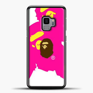 Awesome A Bathing Ape Pink White Samsung Galaxy S9 Case, Black Plastic Case | casedilegna.com