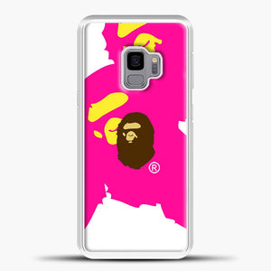 Awesome A Bathing Ape Pink White Samsung Galaxy S9 Case, White Plastic Case | casedilegna.com