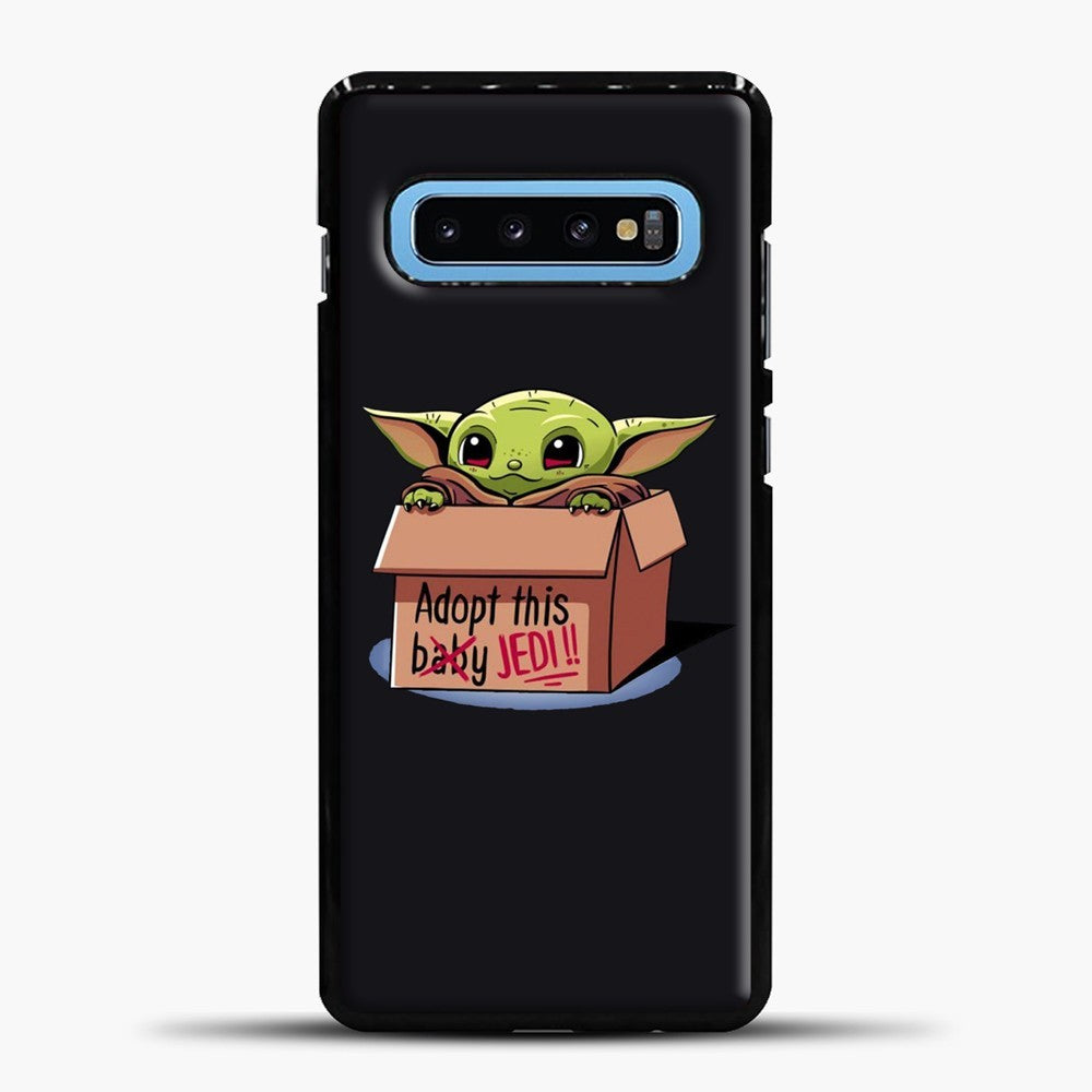 Baby Yoda Adopt This Baby Jedi Black Background Samsung Galaxy S10 Case, Black Plastic Case | casedilegna.com