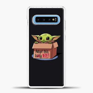 Baby Yoda Adopt This Baby Jedi Black Background Samsung Galaxy S10 Case, White Plastic Case | casedilegna.com