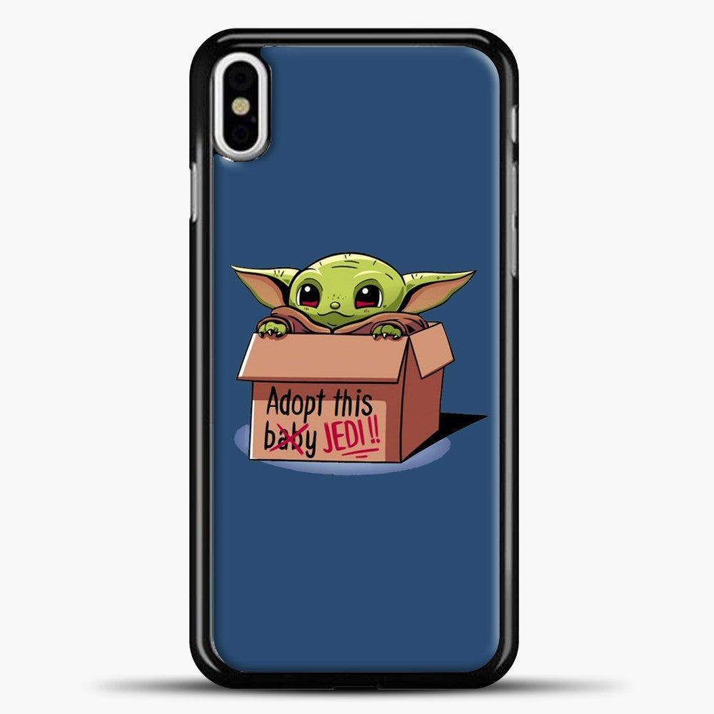 Baby Yoda Adopt This Baby Jedi Navy Background iPhone X Case, Black Plastic Case | casedilegna.com