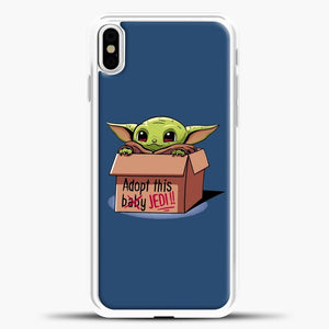 Baby Yoda Adopt This Baby Jedi Navy Background iPhone X Case, White Plastic Case | casedilegna.com