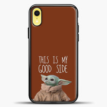 Load image into Gallery viewer, Baby Yoda Chocolate Background iPhone XR Case, Black Plastic Case | casedilegna.com
