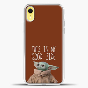 Baby Yoda Chocolate Background iPhone XR Case, White Plastic Case | casedilegna.com