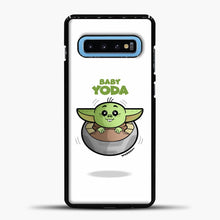 Load image into Gallery viewer, Baby Yoda Cute Samsung Galaxy S10 Case, Black Plastic Case | casedilegna.com