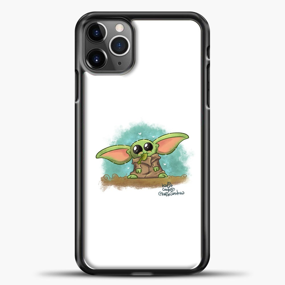 Baby Yoda Eat Frogs iPhone 11 Pro Max Case, Black Plastic Case | casedilegna.com