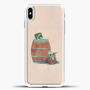 Baby Yoda Eat Green Ice iPhone X Case, White Plastic Case | casedilegna.com