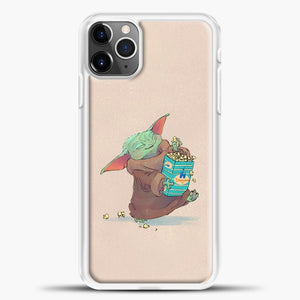 Baby Yoda Eat Snack iPhone 11 Pro Max Case, White Plastic Case | casedilegna.com