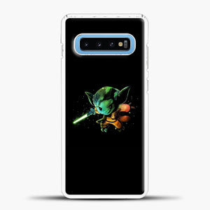 Baby Yoda Flying Samsung Galaxy S10 Case, White Plastic Case | casedilegna.com