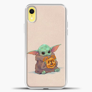 Baby Yoda Hold The Cake iPhone XR Case, White Plastic Case | casedilegna.com