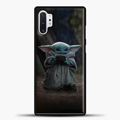 Baby Yoda Hold The Drink Samsung Galaxy Note 10 Plus Case, Black Plastic Case | casedilegna.com