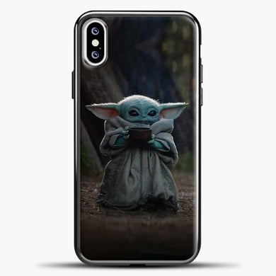 Baby Yoda Hold The Drink iPhone XS Case, Black Plastic Case | casedilegna.com