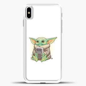 Baby Yoda Hold The Handphone iPhone X Case, White Plastic Case | casedilegna.com
