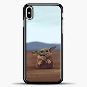 Baby Yoda In The Montains iPhone X Case, Black Plastic Case | casedilegna.com