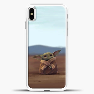 Baby Yoda In The Montains iPhone X Case, White Plastic Case | casedilegna.com