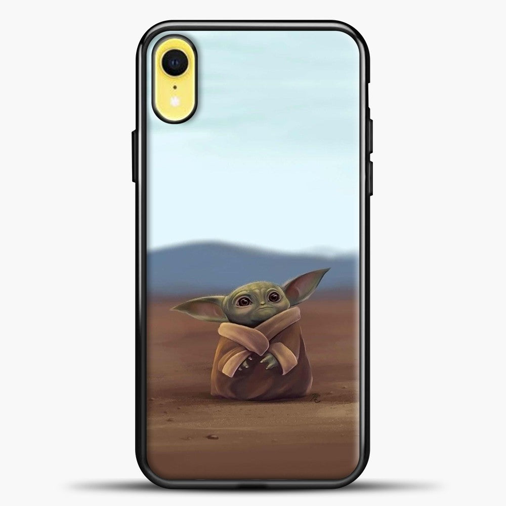 Baby Yoda In The Montains iPhone XR Case, Black Plastic Case | casedilegna.com