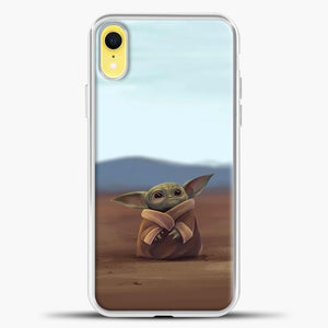 Baby Yoda In The Montains iPhone XR Case, White Plastic Case | casedilegna.com