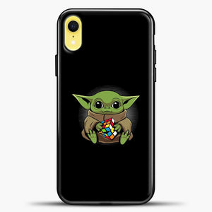Baby Yoda Rubrik Fly iPhone XR Case, Black Plastic Case | casedilegna.com