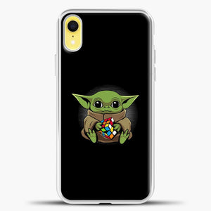 Baby Yoda Rubrik Fly iPhone XR Case, White Plastic Case | casedilegna.com