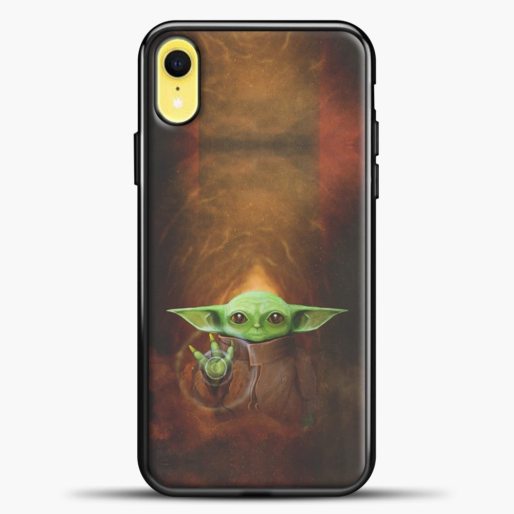 Baby Yoda White Light iPhone XR Case, Black Plastic Case | casedilegna.com