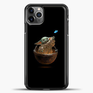 Baby Yoda With Butterfly iPhone 11 Pro Max Case, Black Plastic Case | casedilegna.com