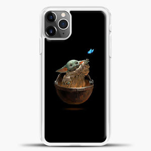 Baby Yoda With Butterfly iPhone 11 Pro Max Case, White Plastic Case | casedilegna.com