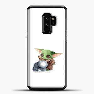 Baby Yoda With Cat Samsung Galaxy S9 Plus Case, Black Plastic Case | casedilegna.com