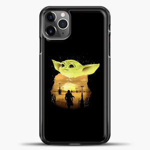 Baby Yoda With Moon iPhone 11 Pro Max Case, Black Plastic Case | casedilegna.com