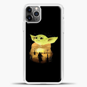 Baby Yoda With Moon iPhone 11 Pro Max Case, White Plastic Case | casedilegna.com