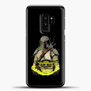 Baby Yoda With Planet Samsung Galaxy S9 Plus Case, Black Plastic Case | casedilegna.com