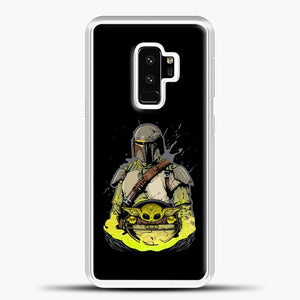 Baby Yoda With Planet Samsung Galaxy S9 Plus Case, White Plastic Case | casedilegna.com