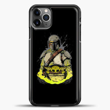 Load image into Gallery viewer, Baby Yoda With Planet iPhone 11 Pro Max Case, Black Plastic Case | casedilegna.com