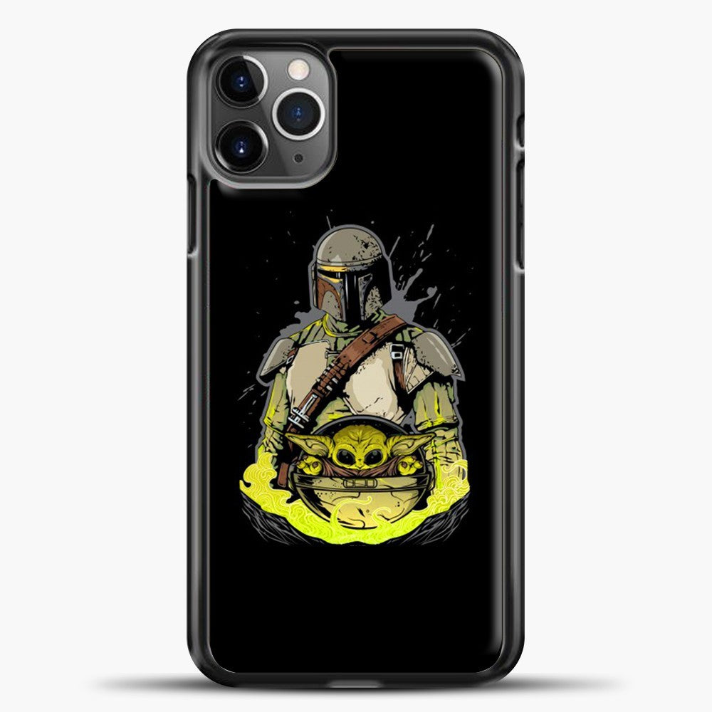 Baby Yoda With Planet iPhone 11 Pro Max Case, Black Plastic Case | casedilegna.com