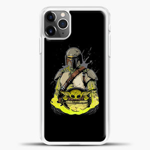 Baby Yoda With Planet iPhone 11 Pro Max Case, White Plastic Case | casedilegna.com