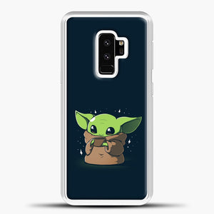 Baby Yoda With Star Samsung Galaxy S9 Plus Case, White Plastic Case | casedilegna.com