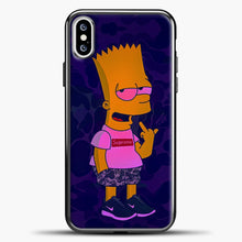 Load image into Gallery viewer, Bart Camo Background iPhone XS Case, Black Plastic Case | casedilegna.com