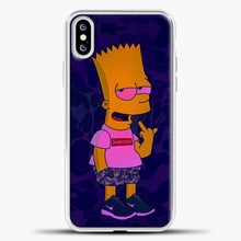 Load image into Gallery viewer, Bart Camo Background iPhone XS Case, White Plastic Case | casedilegna.com
