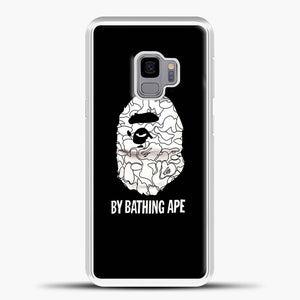 Bathing Ape Logo Line Drawing Black Samsung Galaxy S9 Case, White Plastic Case | casedilegna.com
