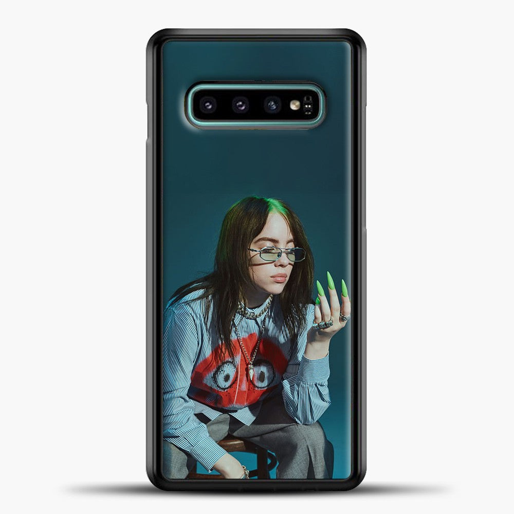 Billie Ailish Green Nails Samsung Galaxy S10e Case, Black Plastic Case | casedilegna.com