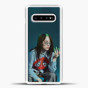 Billie Ailish Green Nails Samsung Galaxy S10e Case, White Plastic Case | casedilegna.com
